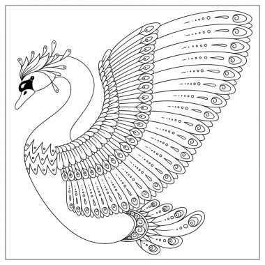 Drawing zentangle swan for coloring page