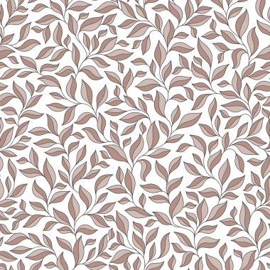 Abstract beige seamless pattern with leaves.