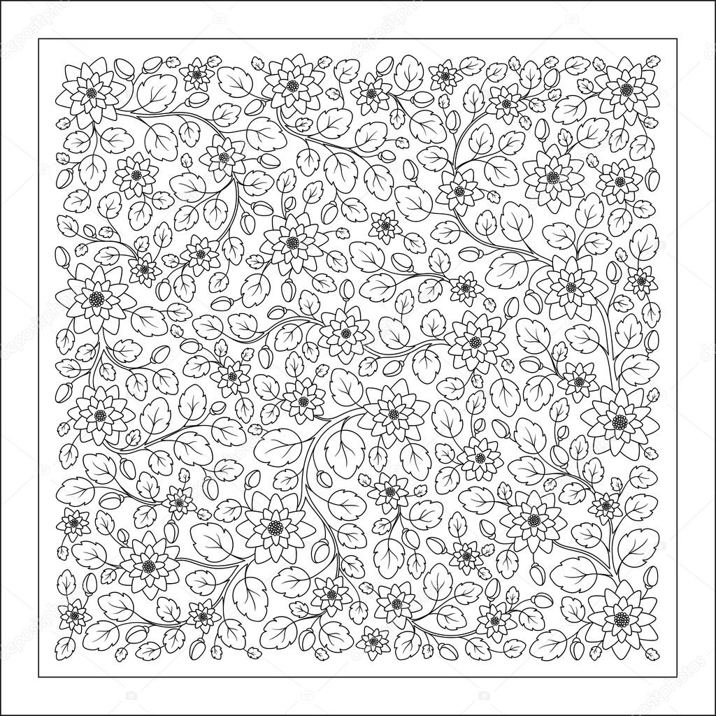 Malvorlage mit Vintage-Blumenmuster. — Stockvektor © karpenyuk