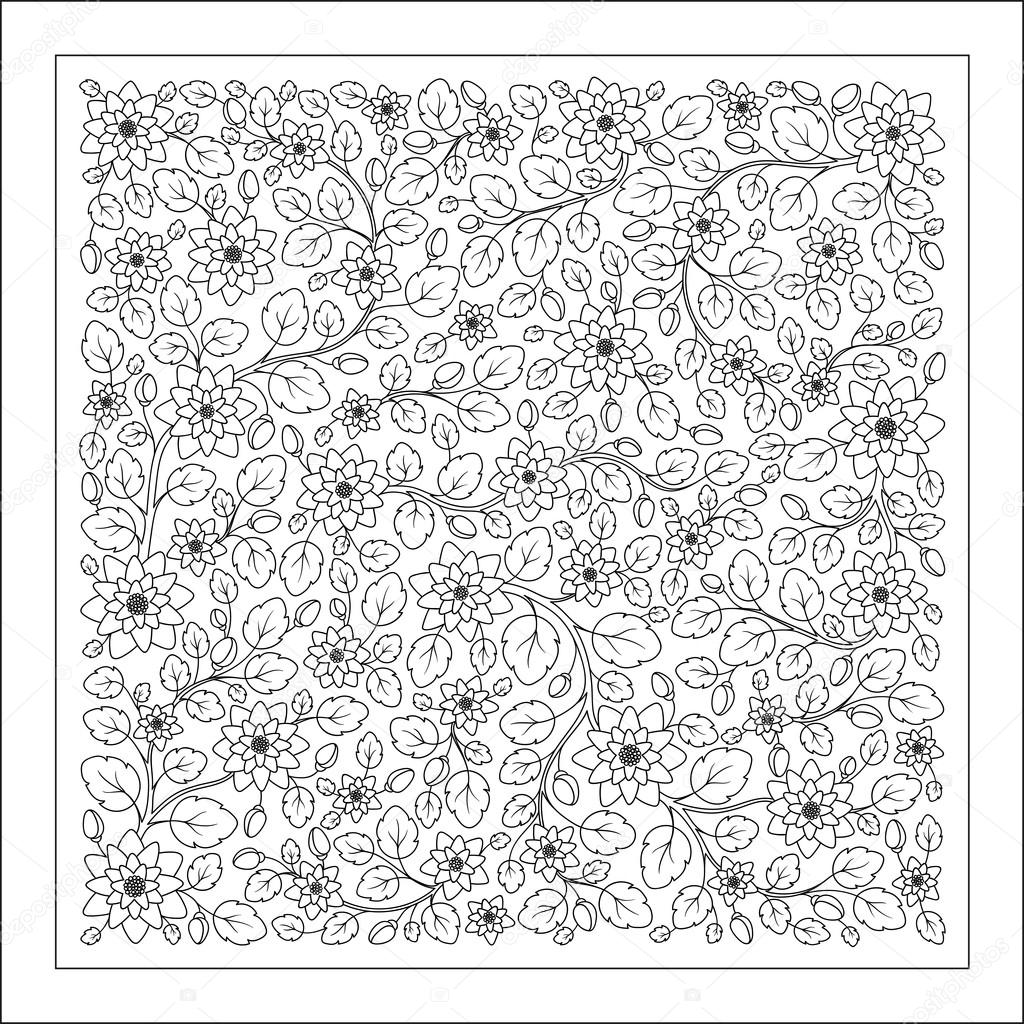 Coloring page with vintage flowers pattern.