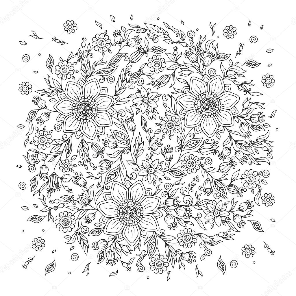 forest flowers vector coloring book pages u2014 stock vector