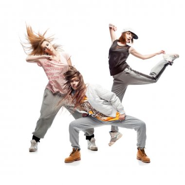 group of young femanle hip hop dancers on white background