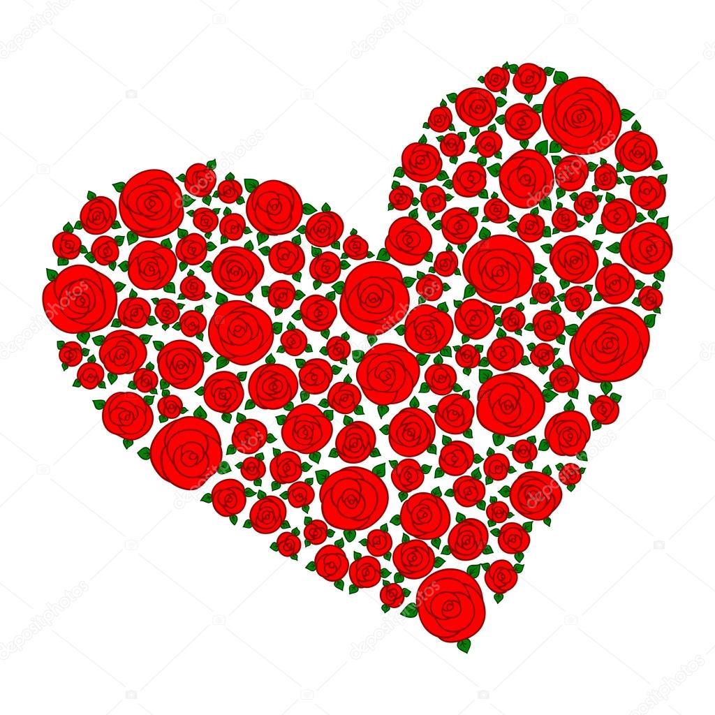 Rojo De Forma De Corazón A Mano Dibujos Animados Dibujados Flores