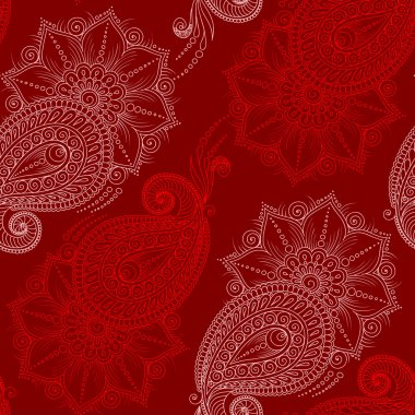 Henna Mehendy Doodles Seamless Pattern on a red background