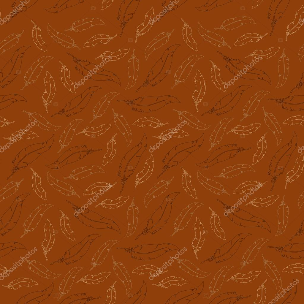 Plumas blancas sobre fondo marrón. Patrón transparente de vector ...