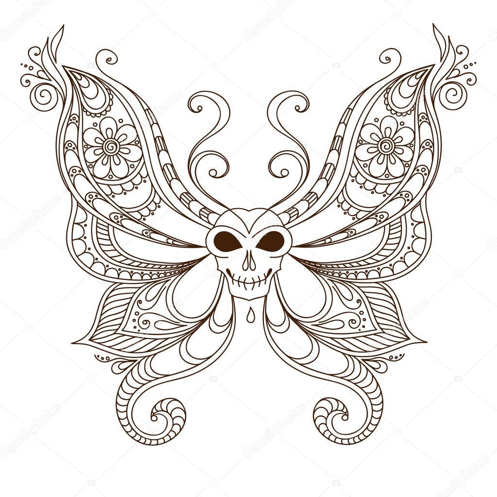 Tatouage Papillon D Art Crane Henne Mehendi Image Vectorielle
