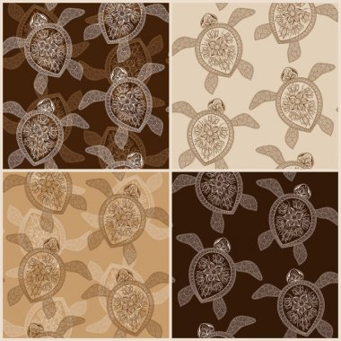 Set of vintage seamless patterns with turtles