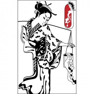 geisha. Japanese Woman.Japanese banner. Vintage hand draw art