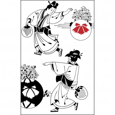 Sketch of Japanese couple in traditional dress. Vintage hand dra