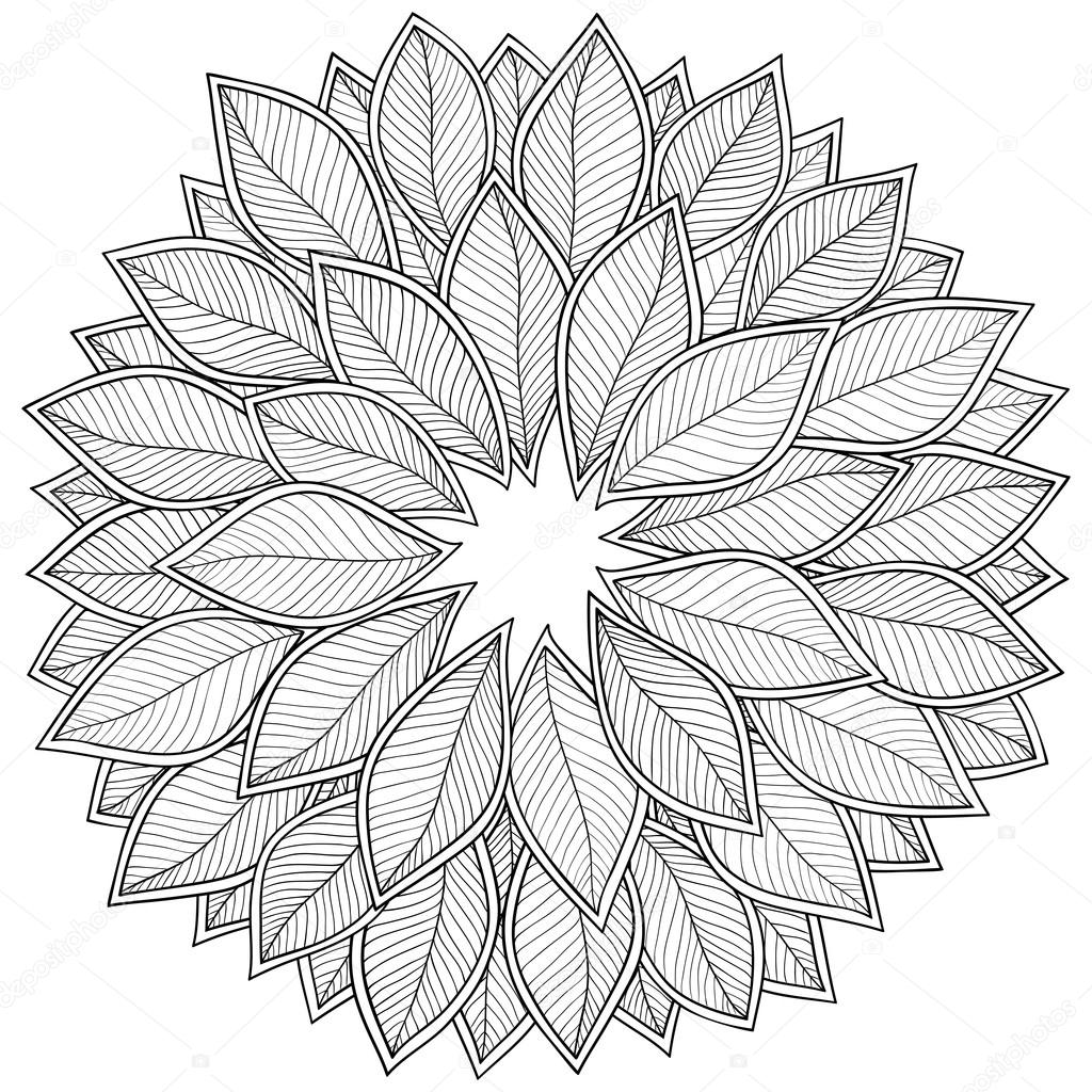 Pattern for coloring book. Leaves. — Stock Vector © karpenyuk #89399452