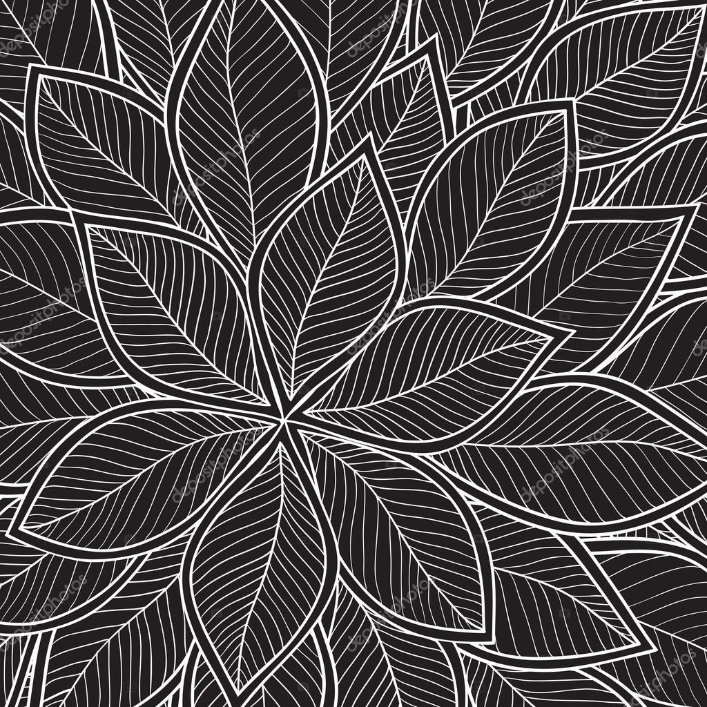 main noir et blanc dessin motif floral image vectorielle. Black Bedroom Furniture Sets. Home Design Ideas