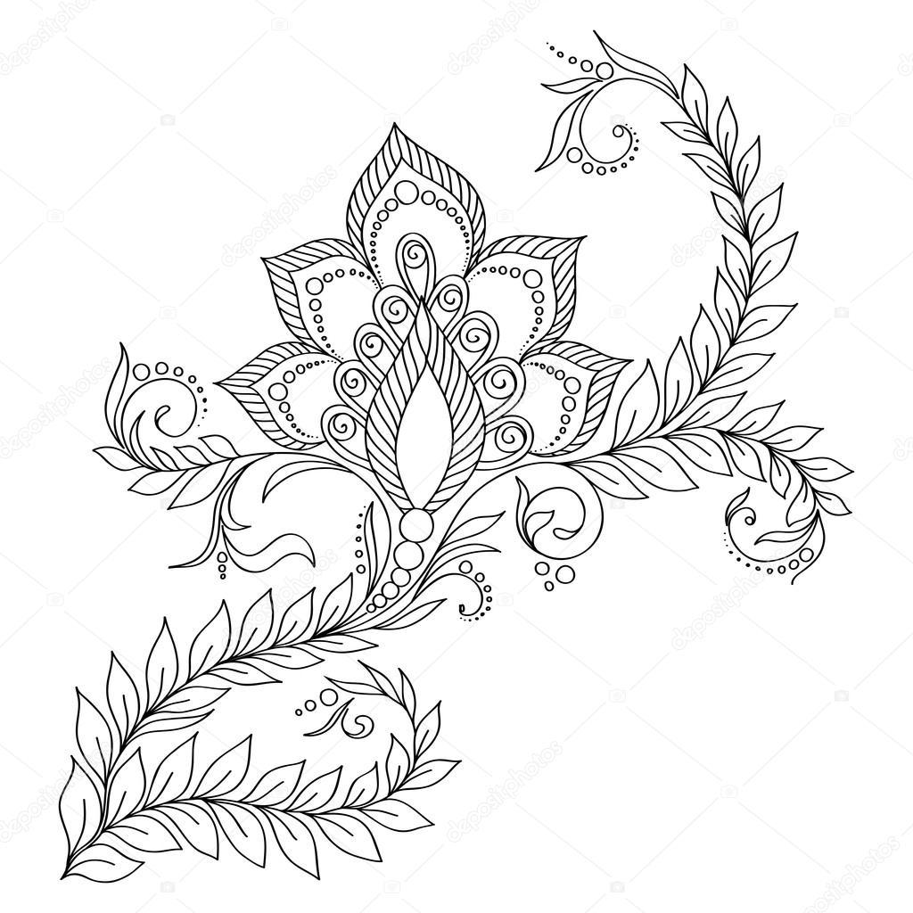 Boyama Kitabı Için Desen Hint Tarzı çiçek öğeleri Stok Vektör