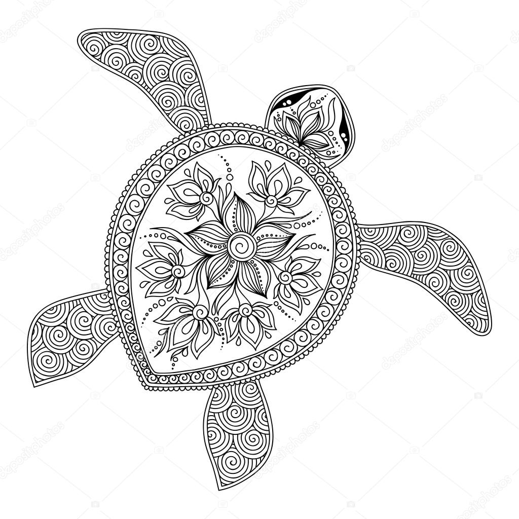 Pattern for coloring book. Decorative graphic turtle. — Stock Vector ...