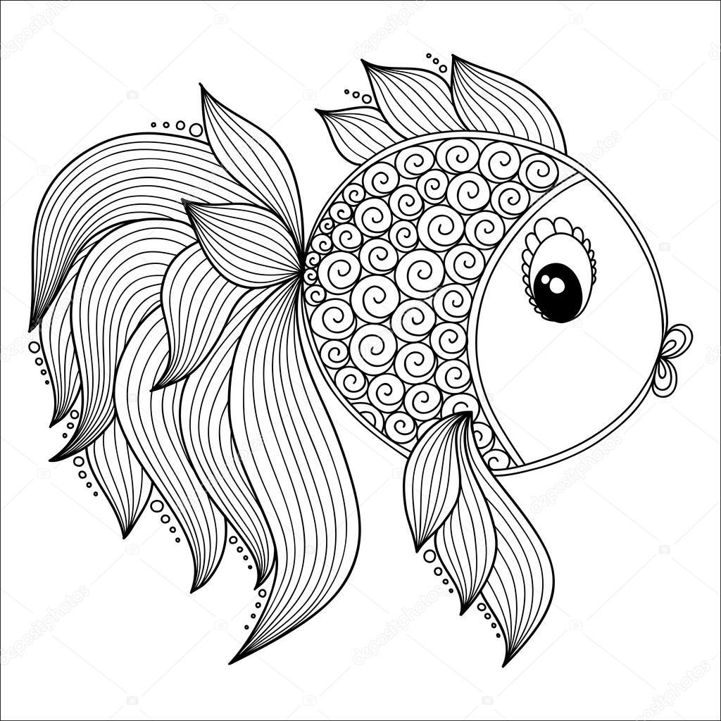 Boyama Kitabı Için Desen Sevimli çizgi Balık Stok Vektör