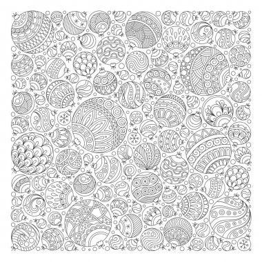 Pattern for coloring book. Christmas hand-drawn decorative eleme