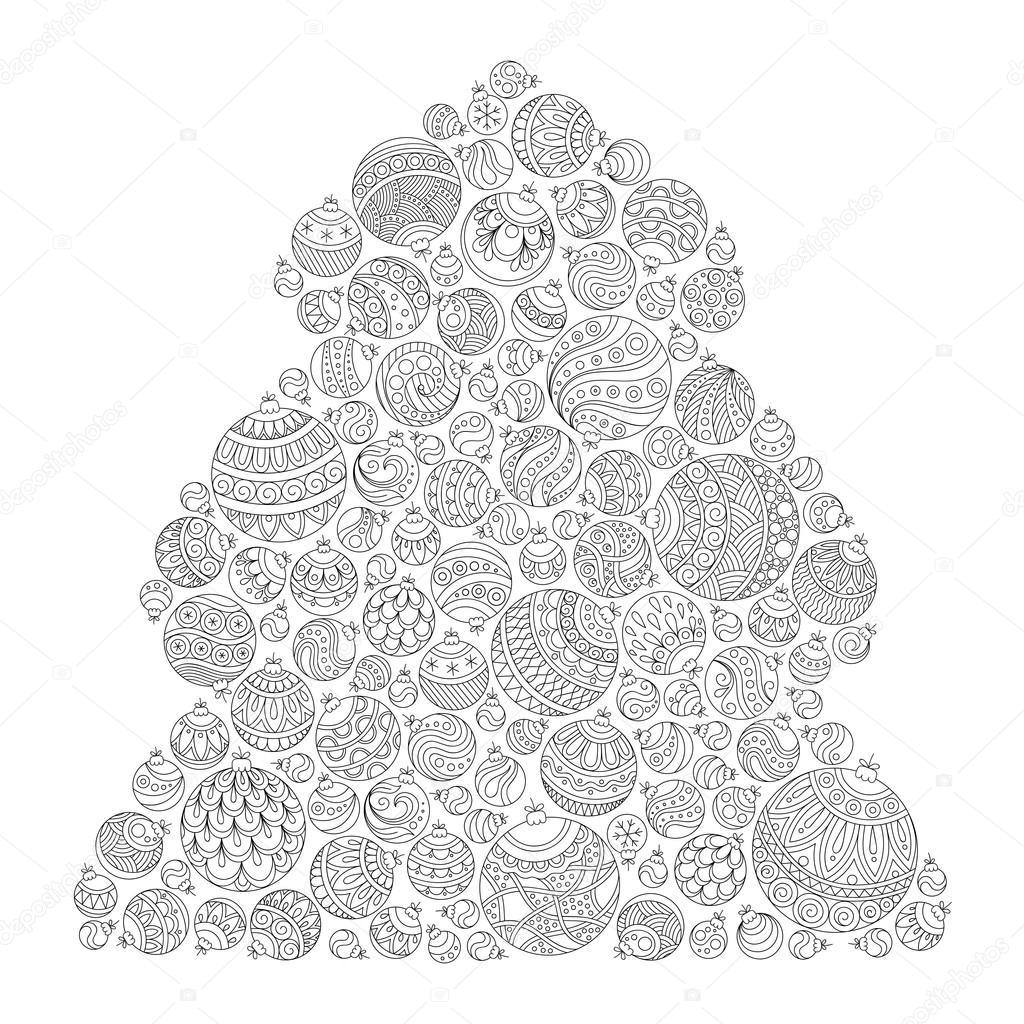Arbre De Noël Motif Pour Livre De Coloriage Zentangle Image