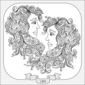 Hand drawn pattern for coloring book zodiac Gemini