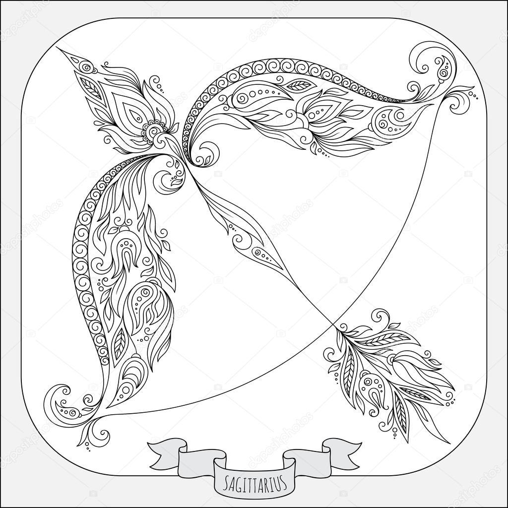 Ręcznie Rysowane Wzór Dla Kolorowanie Książki Znak Zodiaku