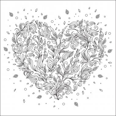 Coloring page flower heart St Valentine's day greeting card