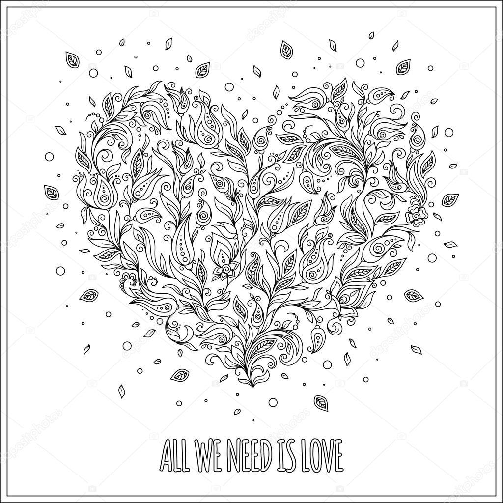 Sayfa çiçek Kalp St Sevgililer Günü Tebrik Kartı Boyama Stok