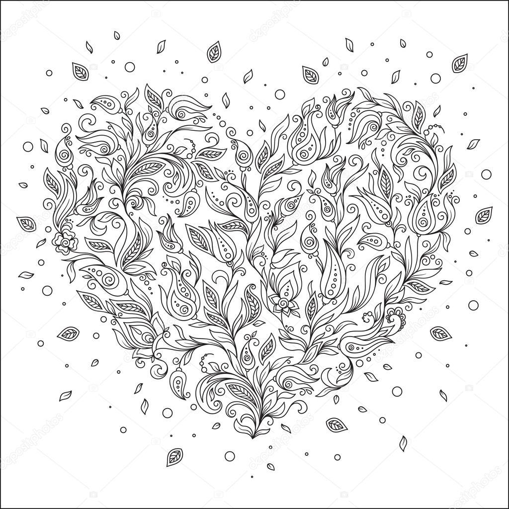 Coloriage Carte De Voeux Page Fleur Coeur St Valentin Image