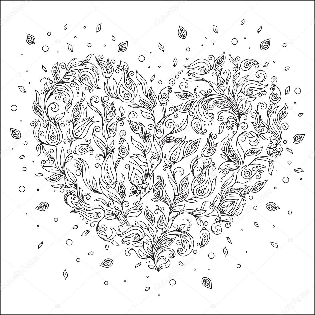 Coloring page flower heart St Valentine\'s day greeting card — Stock ...