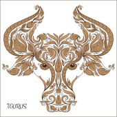 Hand drawn pattern for coloring book zodiac Taurus