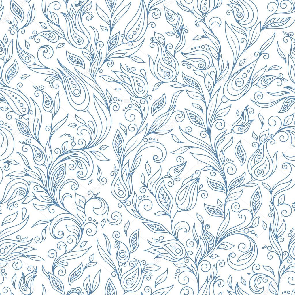 Henna Mehndi Tattoo Flowers Doodles Seamless Pattern Stock Vector