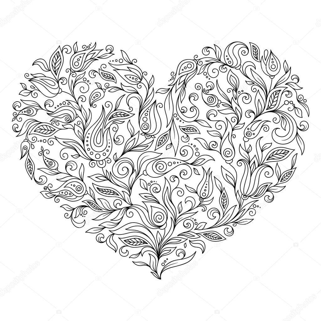 Sayfa çiçek Kalp St Sevgililer Günü Boyama Stok Vektör Karpenyuk