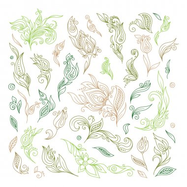 Henna floral tattoo doodle vector elements on white background