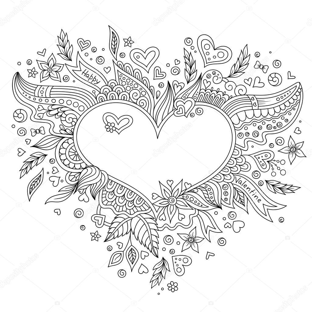 kleurplaat pagina bloem hart st s day