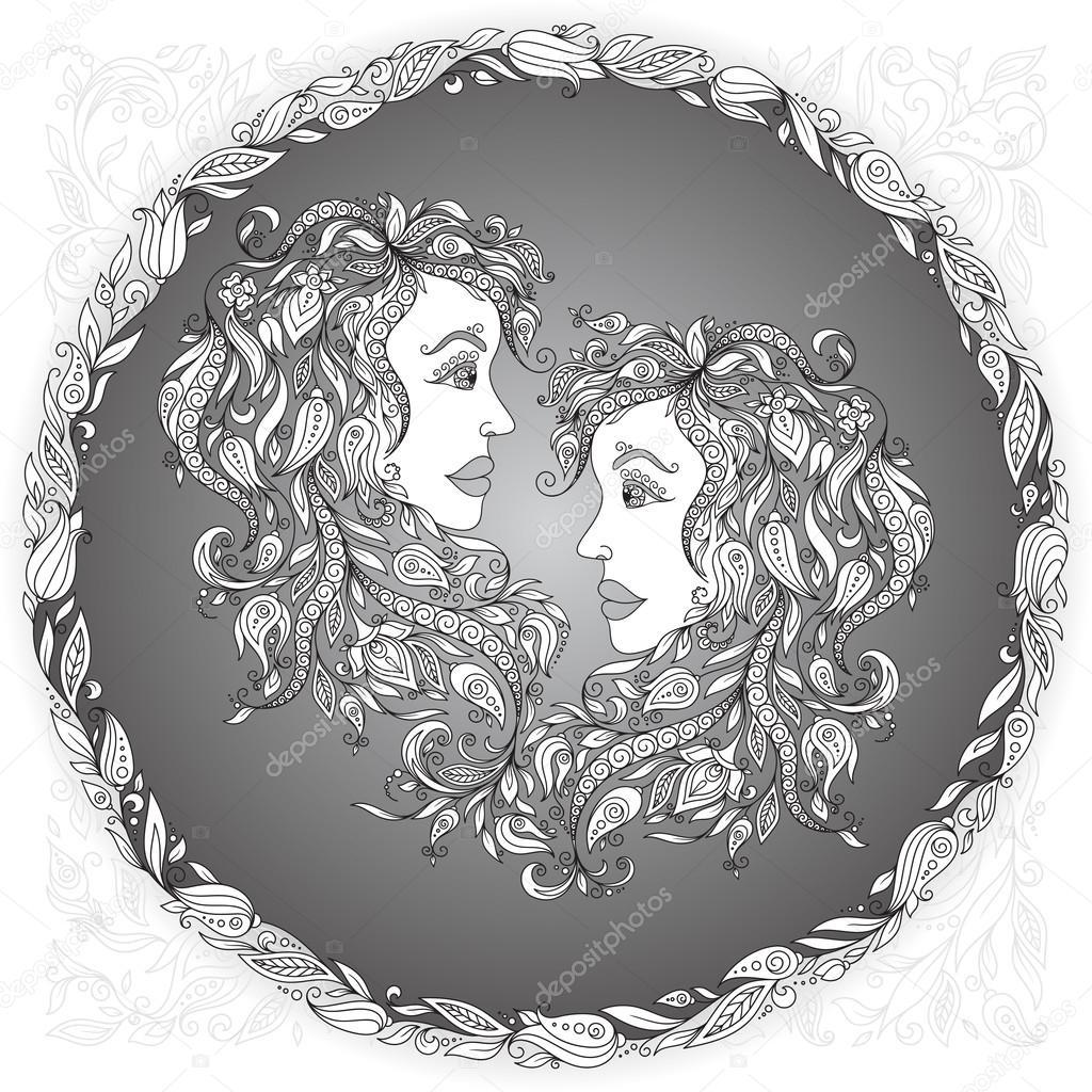 Znak Zodiaku Bliźnięta Grafika Wektorowa Karpenyuk