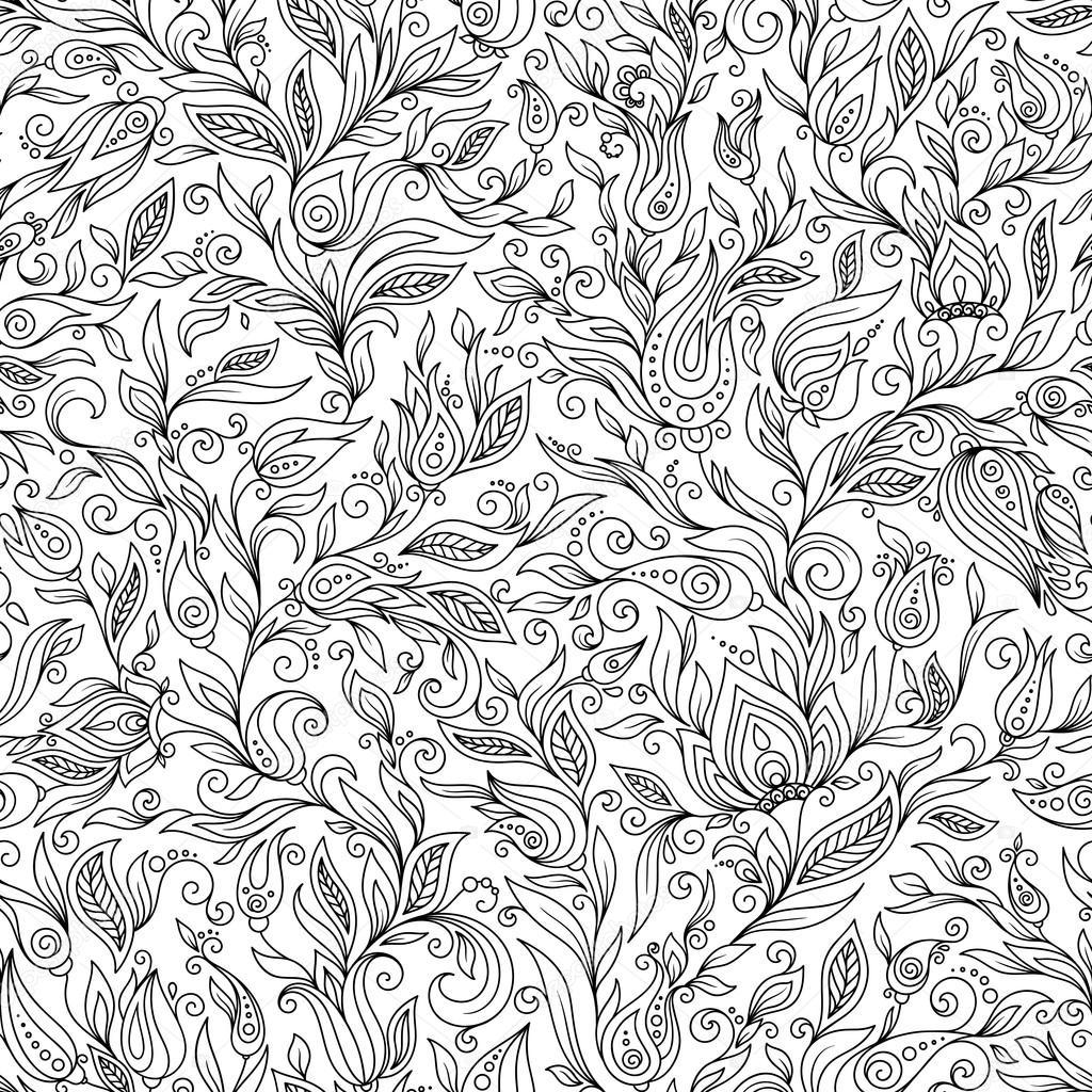 塗り絵のパターン花の落書きベクトル要素のデザイン ストック