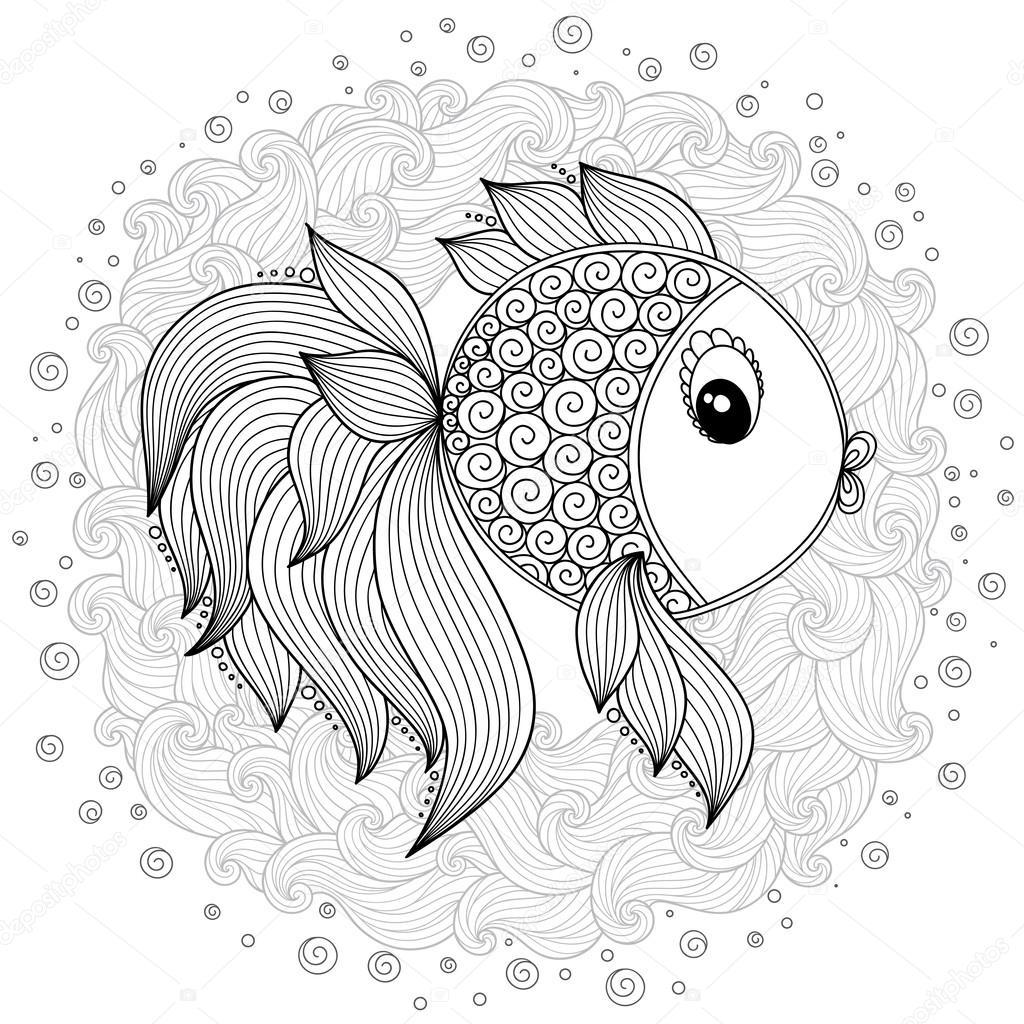 Boyama Kitabı Için Desen Vektör Sevimli çizgi Balık Stok Vektör