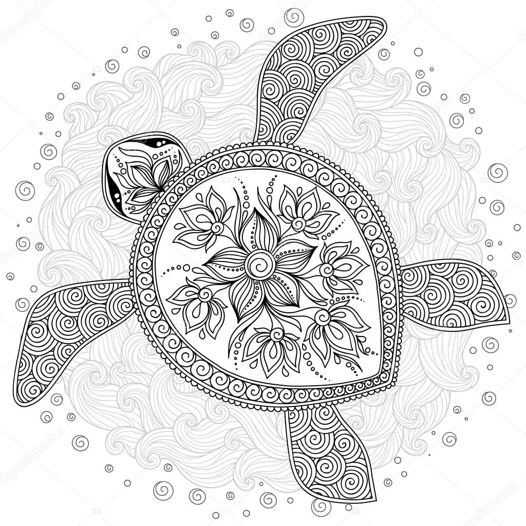 Pattern for coloring book. Decorative graphic turtle ...