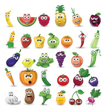 cartoon fruits and vegetables characters