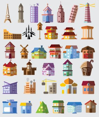 houses and famous construction icons