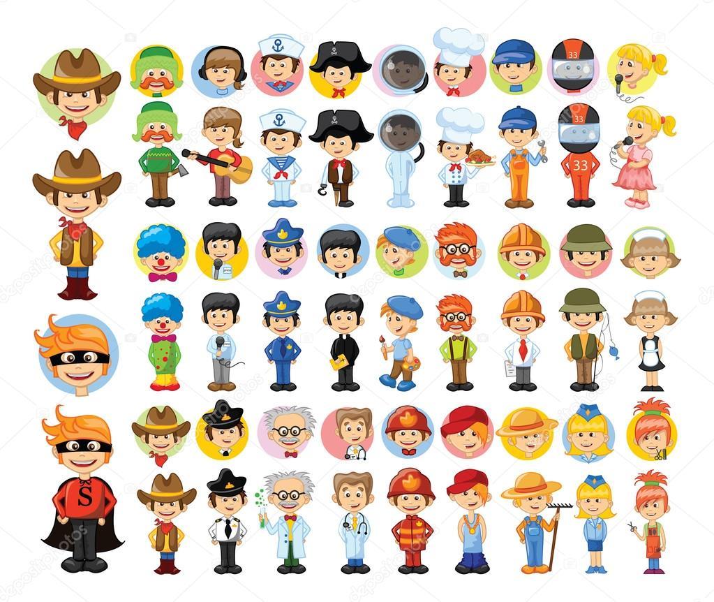 Professions animées en personnages de dessins animés anglais