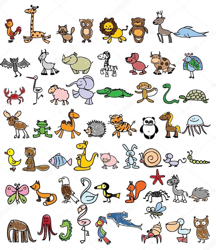 0db0e55962dc6 Dibujos de animales de la doodle — Archivo Imágenes Vectoriales ...