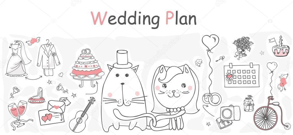 Hochzeit-Banner-Vorlage — Stockvektor © virinaflora #104099656
