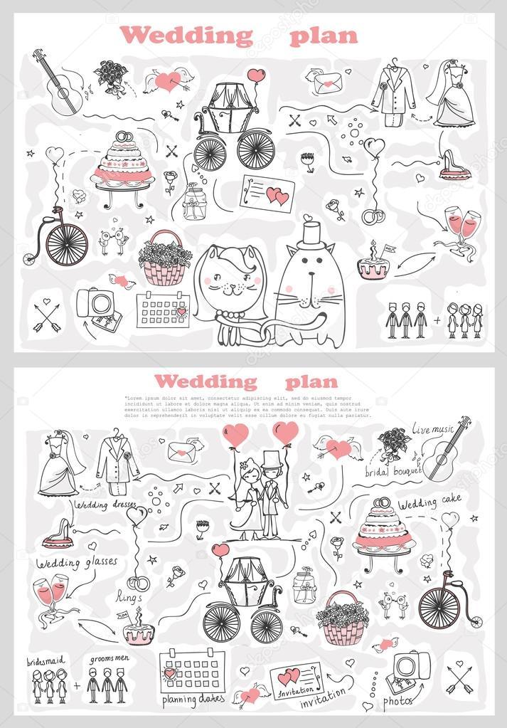 Hochzeit-Banner-Vorlagen — Stockvektor © virinaflora #104099908