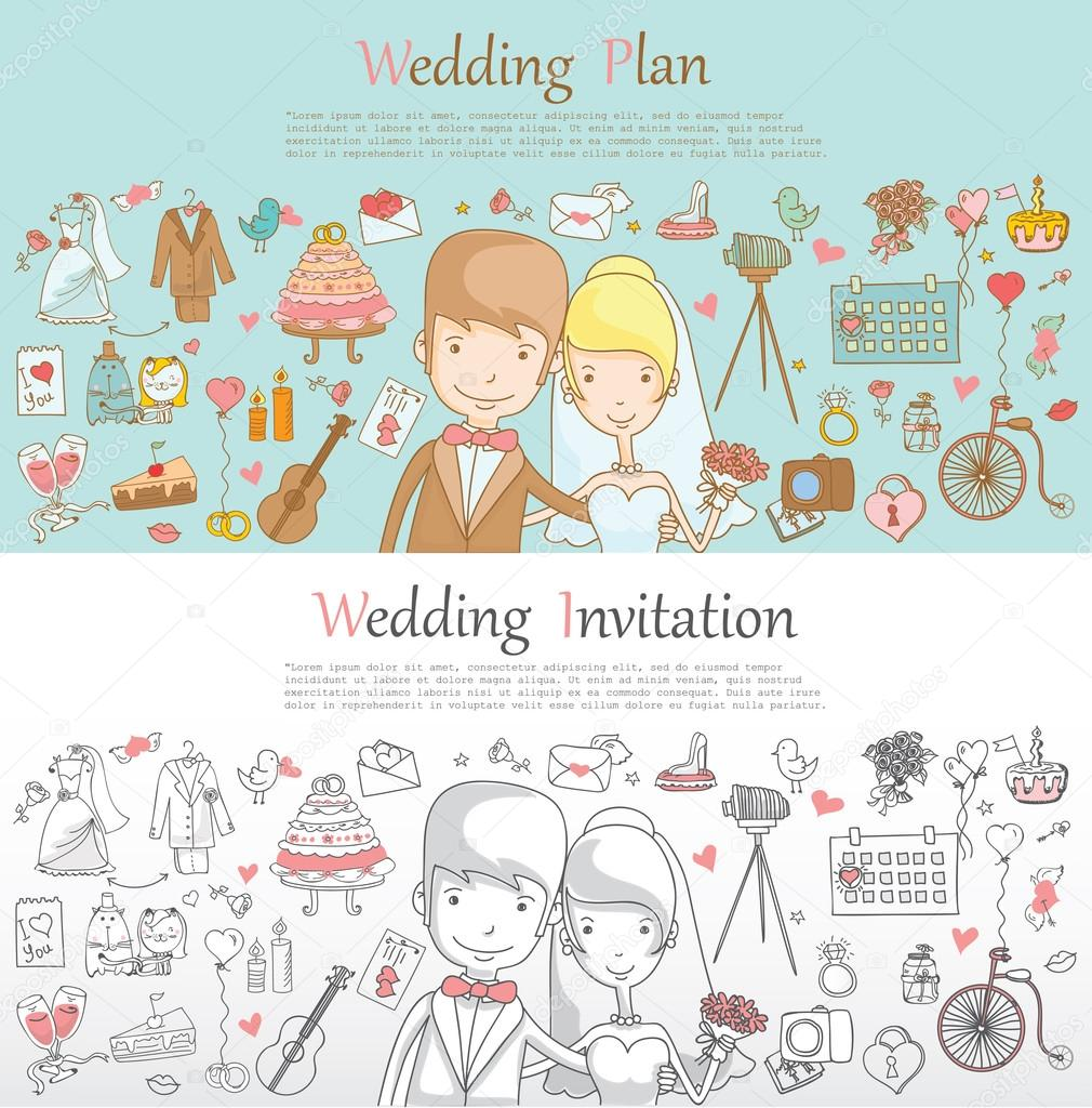 outline cartoon wedding icons