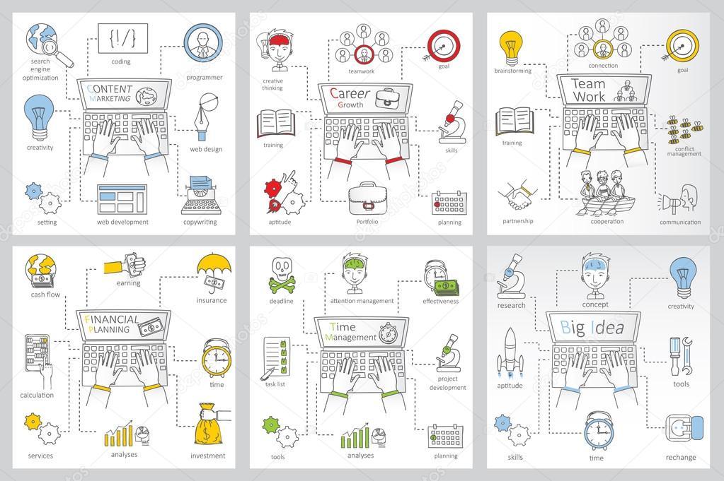 Web-Banner-Vorlagen mit Umriss Business icons — Stockvektor ...