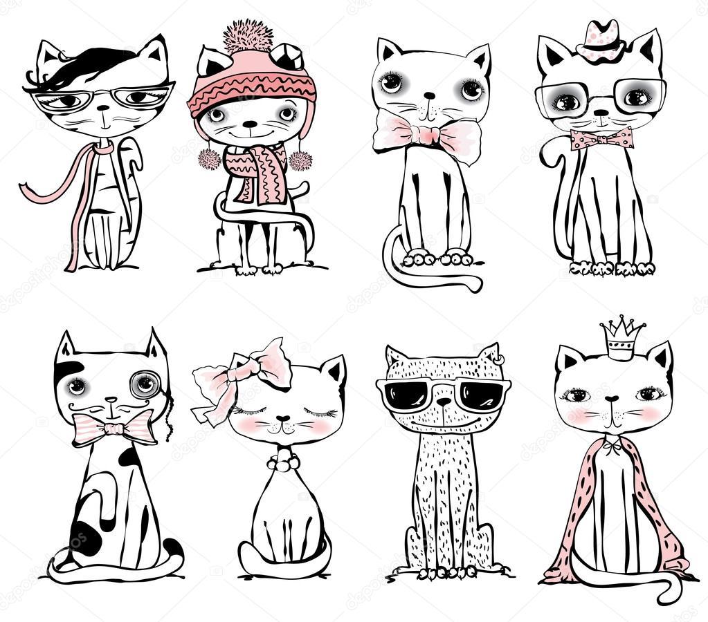 Plakat Z Stylowe Koty Grafika Wektorowa Virinaflora