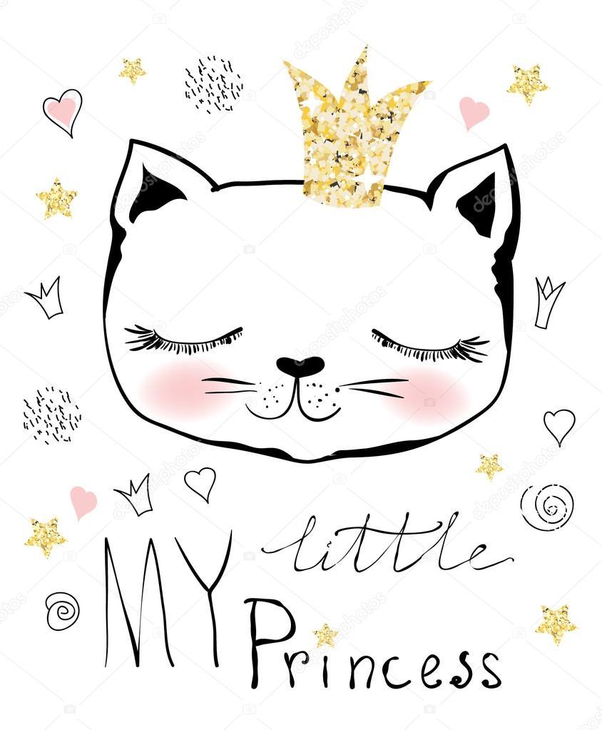 Stylish Cat poster with stylish cat queen — stock vector © virinaflora #117184540
