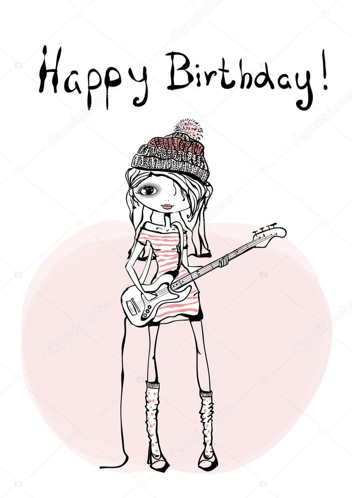 Happy Birthday Card With Guitarist Girl Stock Vector C Virinaflora