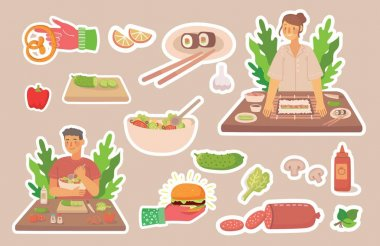 Young boy and girl cooking in kitchen at home. Cooking stickers vector concept icons. Vector illustration in modern flat design style icon