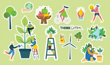 Set of eco save environment stickers pictures. People taking care of planet collage. Zero waste, think green, save the planet, our home hand written text in the modern flat design icon