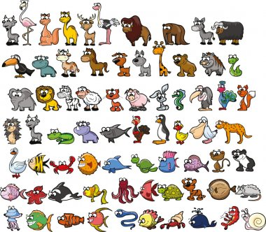 Set of cute cartoon animals. Vector illustration stock vector