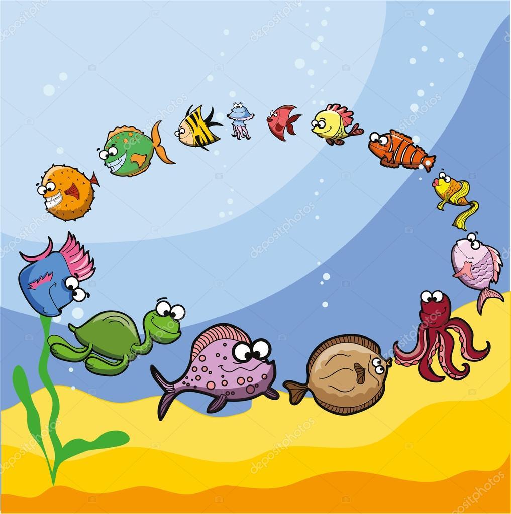 Cartoon cute sea fishes